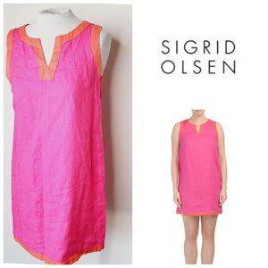 SIGRID OLSEN 100% Linen Hot Pink Shift Boho Dress